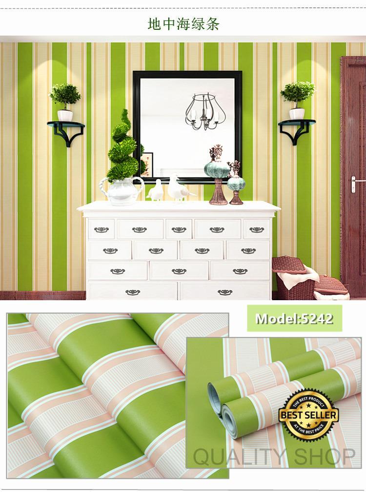 Wallpaper Sticker Dinding Motif Garis Salur Hijau By Quality Shop.