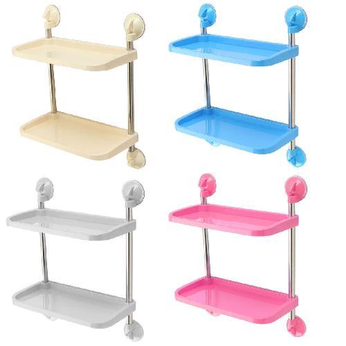 Aiueo Bathroom Storage Shelf Rack Organizer Suction Cup - Rak Tempat Penyimpanan Kamar Mandi By Aiueo Living.