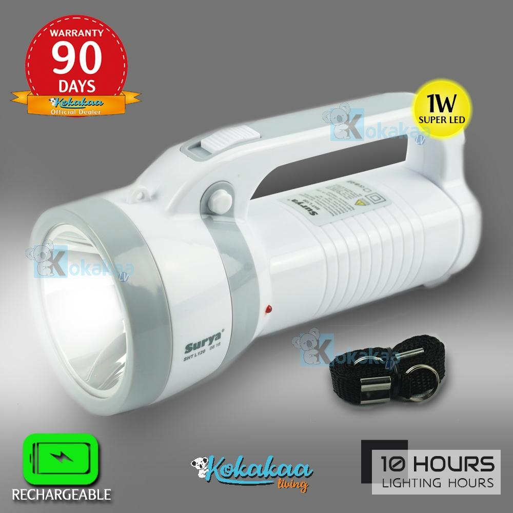 Surya Lampu Senter Led Sht L120 Super Terang 1w Rechargeable 10 Hours By Kokakaa Living.