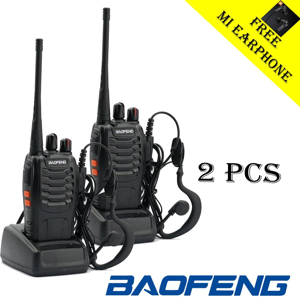 2 Set Paket Komplit Baofeng Bf-888s Handy Talky Radio Ht Uhf / Walky Talky 16 Chanel Free Mi Earphone By Smart Shop 88.