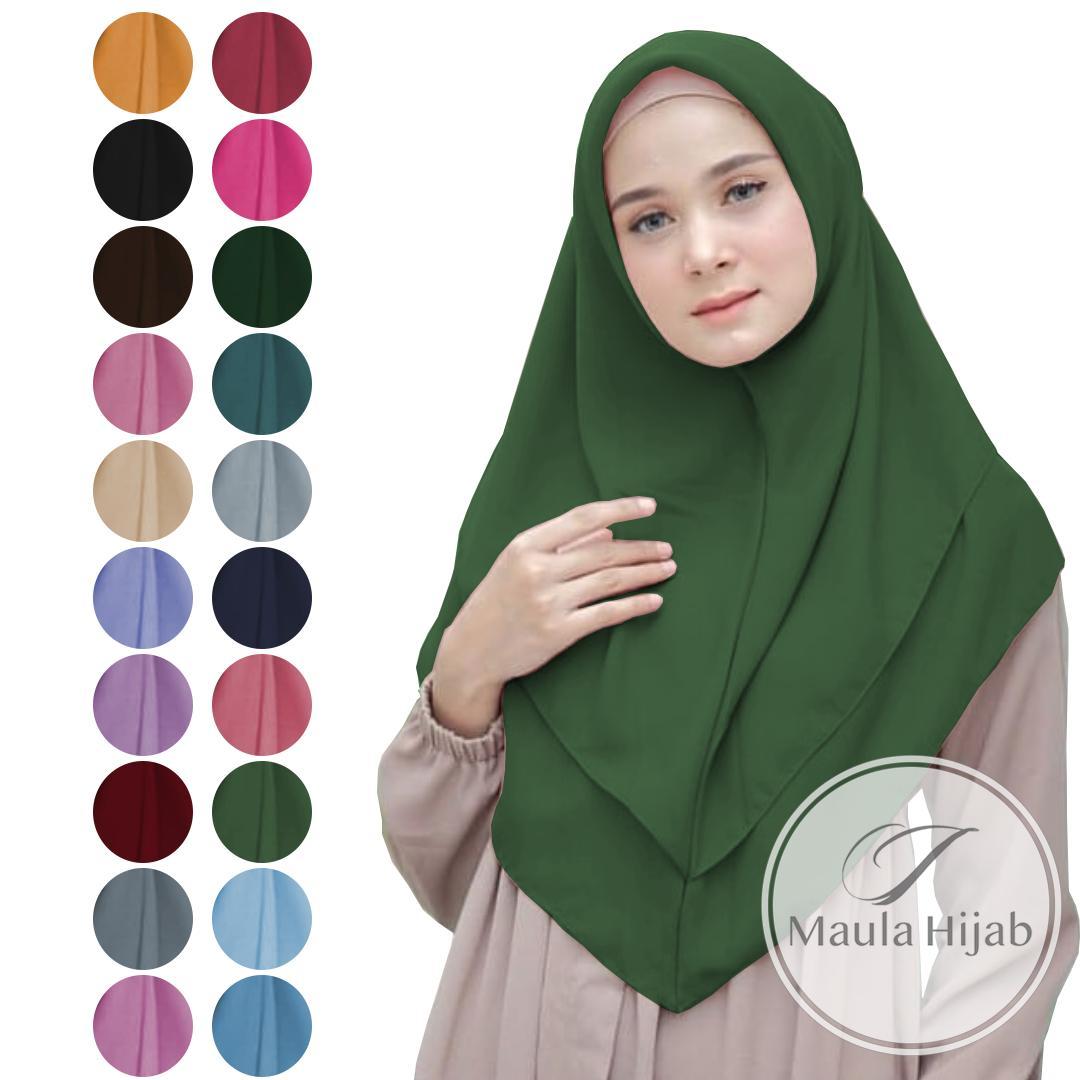 Maula Hijab Kerudung Jilbab Instan Terbaru 2019 Murah Syari Kekinian Bergo Khimar Instant Tanpa Pet Double Layer Tumpuk Jilbab Kerudung Hijab Lebaran Kekinian Termurah