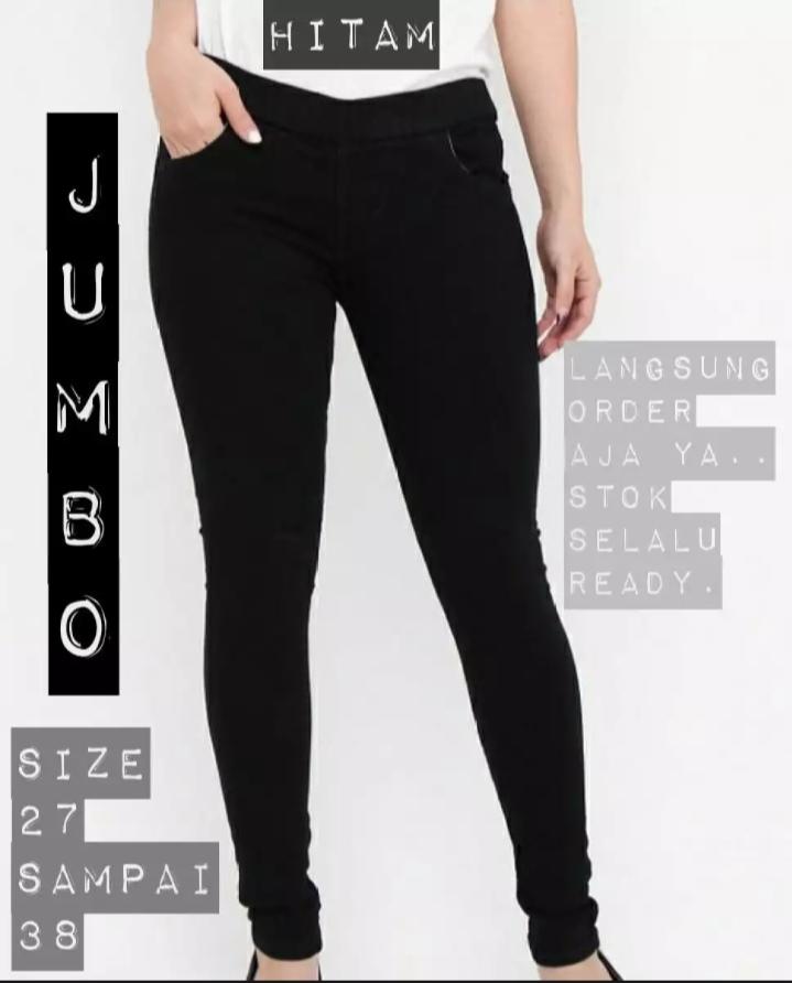 Celana Legging Pinggang Karet Jeans Jumbo Wanita Size 31 38 Hitam Lazada Indonesia