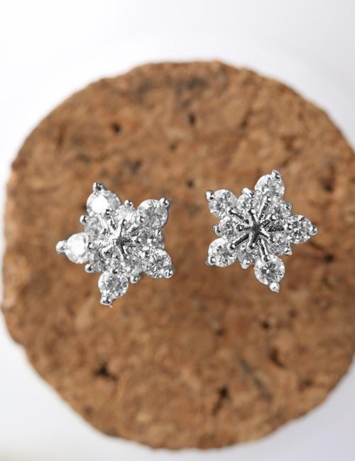 LRC Anting Tusuk Fashion Color Snowflake Shape Decorated Earrings