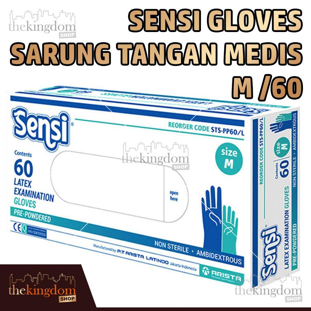 Sensi Gloves Sarung Tangan Medis Karet Latex Glove Disposable M /60