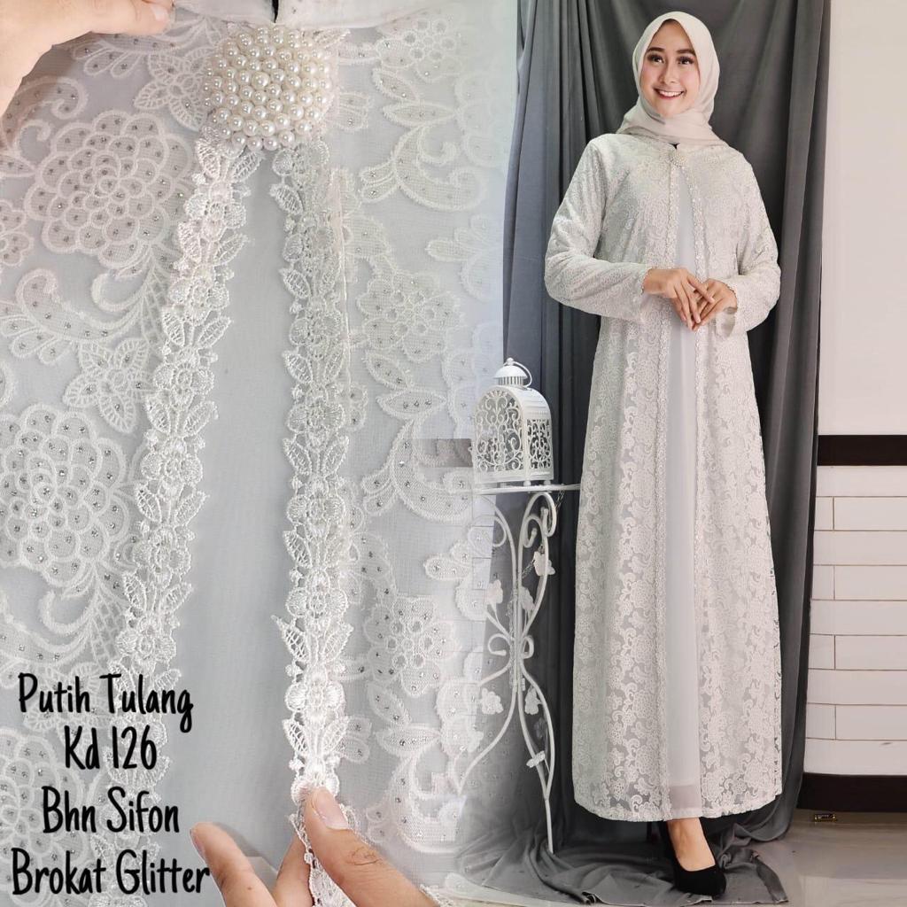 SALE!! FULL BRUKAT Baju Gamis Putih / Busana Muslim / Baju Muslim Wanita-RZ