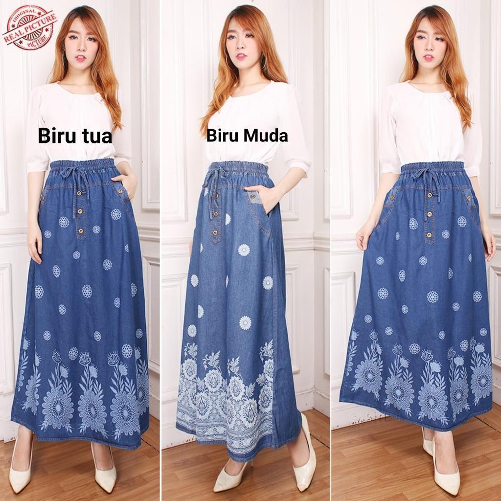 Best Rok Panjang Kullina Rok Jeans Wanita