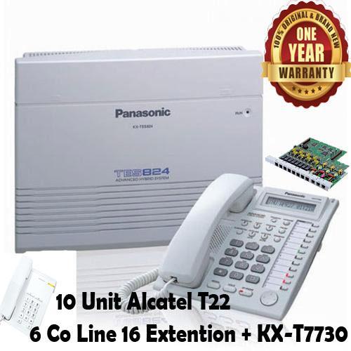 Panasonic Best Seller Murah PABX PBX KX-TES824 TES-824 TES 824 Telepon Telephone 6 Co Line - 16 Extention + Key Display Phone KX-T7730 + 10 Unit Alcatel T22 Bergaransi Resmi