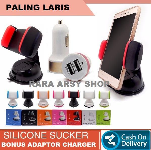 PALING LARIS Holder Silicont (fFREE ADAPTOR CHARGE) Silicon Sucker Universal Holder pegangan HP Bisa nempel di Dashboard_AK08