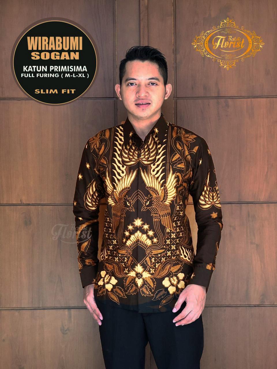 Kemeja Batik Wirabumi Sogan Lengan Panjang Slim Fit  Hem Batik