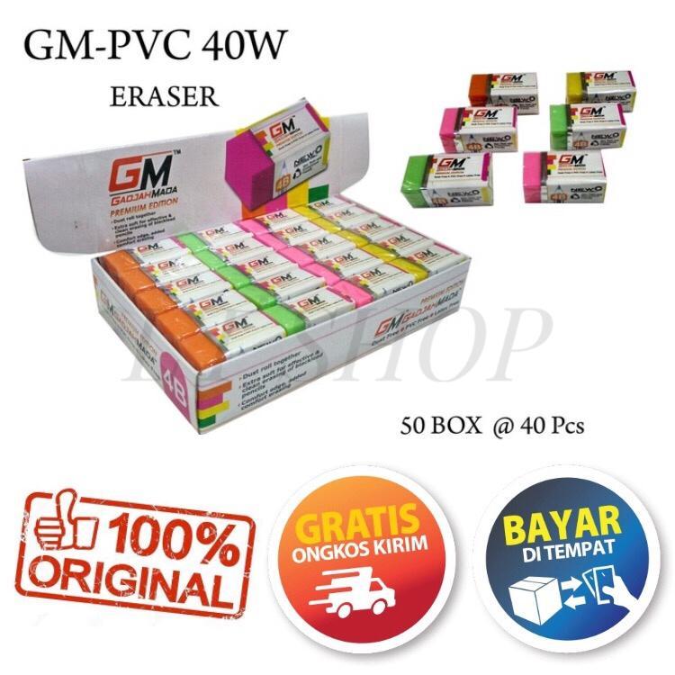 PROMO 1 PACK ISI 40 PCS PENGHAPUS PENSIL PUTIH GAJAH MADA GM-PVC 40W PREMIUM