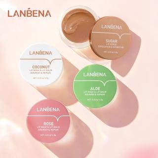 LANBENA Lip Balm Masker Bibir Gel Rose Pink Coconut Sugar Lip Scrub Aloe Vera 6.5g Untuk Melembabkan thumbnail