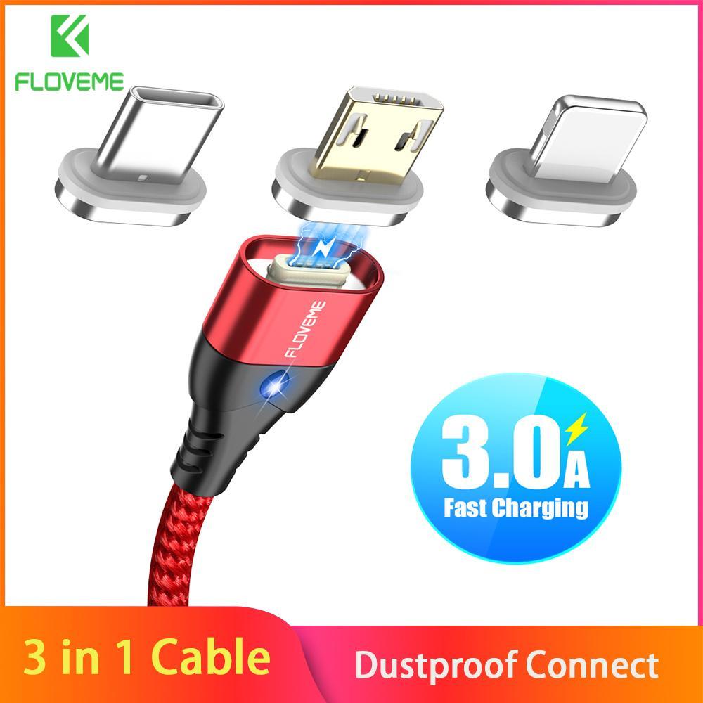 (3 In 1) Floveme 3A Magnetik Pengisi Daya Cepat Kabel Usb Mikro Tipe C Kabel Lightning untuk Ponsel Apple LED Cepat Magnet Kabel Pengisian Daya Telepon