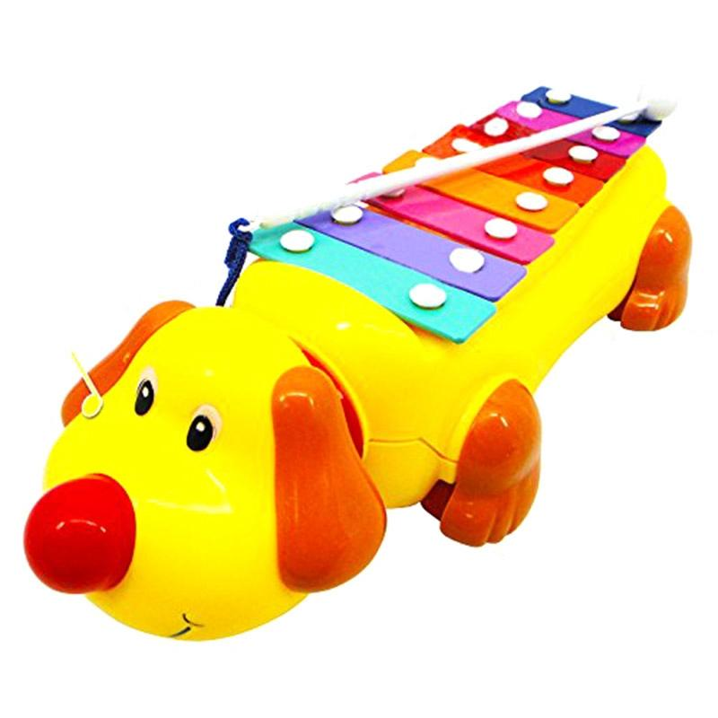 1Pc Baby Kids Educational Musical Instrument Toy Cute Dog Shape Knock Piano Kids Push Pull Toys Early Learning Violin Toy Best Gifts For Preschool Kids Students