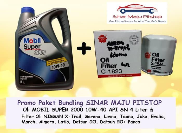 Paket Oli MOBIL SUPER 10W-40 API SN & Filter Oli NISSAN EVALIA & MARCH