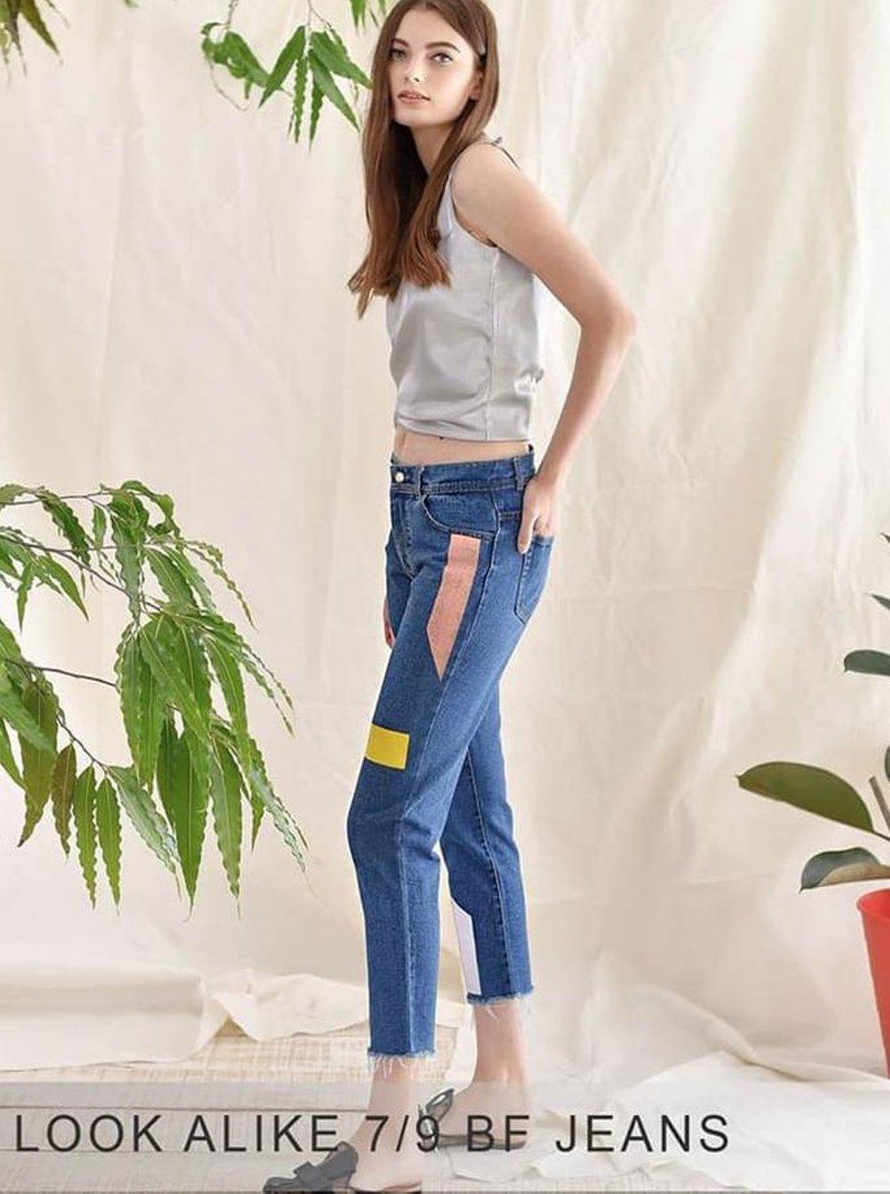 Boyfriend Jeans - Celana Boyfriend Plain Kombinasi - Ancien Store By Ancien Store.