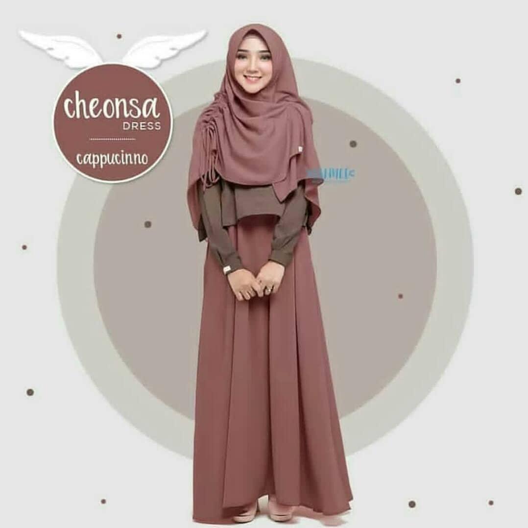 MT Cheonsa Syari Set + Khimar Moscrepe Baju Wanita Muslim Panjang Gamis Terbaru 2019 Supplier Pakaian