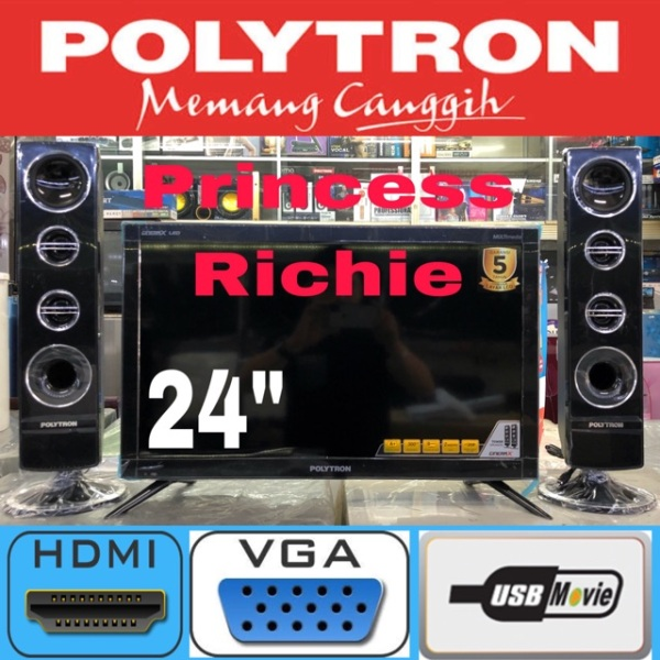Polytron led tv 24 inch plus speaker tower cinemax