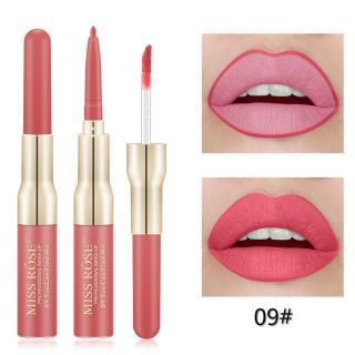 Lipstik Matte Pensil Ganda Tahan Air, Lip Liner Matte Tahan Lama Makeup thumbnail