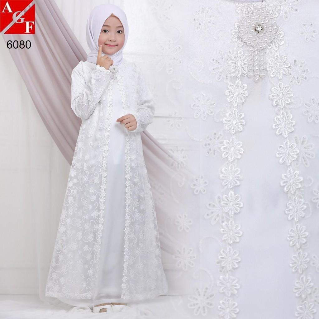 Sale Baju Gamis Anak Brokat Putih Manasik Lebaran Haji Umroh Promo #11