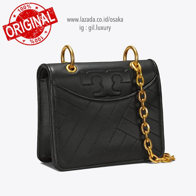 9048f3017e1 Tory Burch Alexa Quilted Mini Imperial Garnet Leather Shoulder Bag Alexa  Quilted Mini Black Tas Selempang