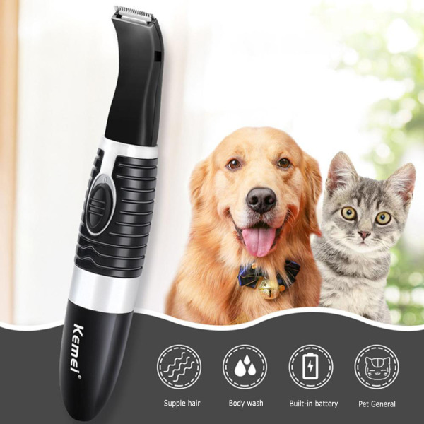 Jiuch Kemei KM-5002 Hair Clippers Electric Razor Beard Shaver Rechargeable Electric Nose Hair Clipper AA Battery Shaver with Guide Comb ABS Black Hair Clippers for Pets Dog Hair Shaver Grooming Kit