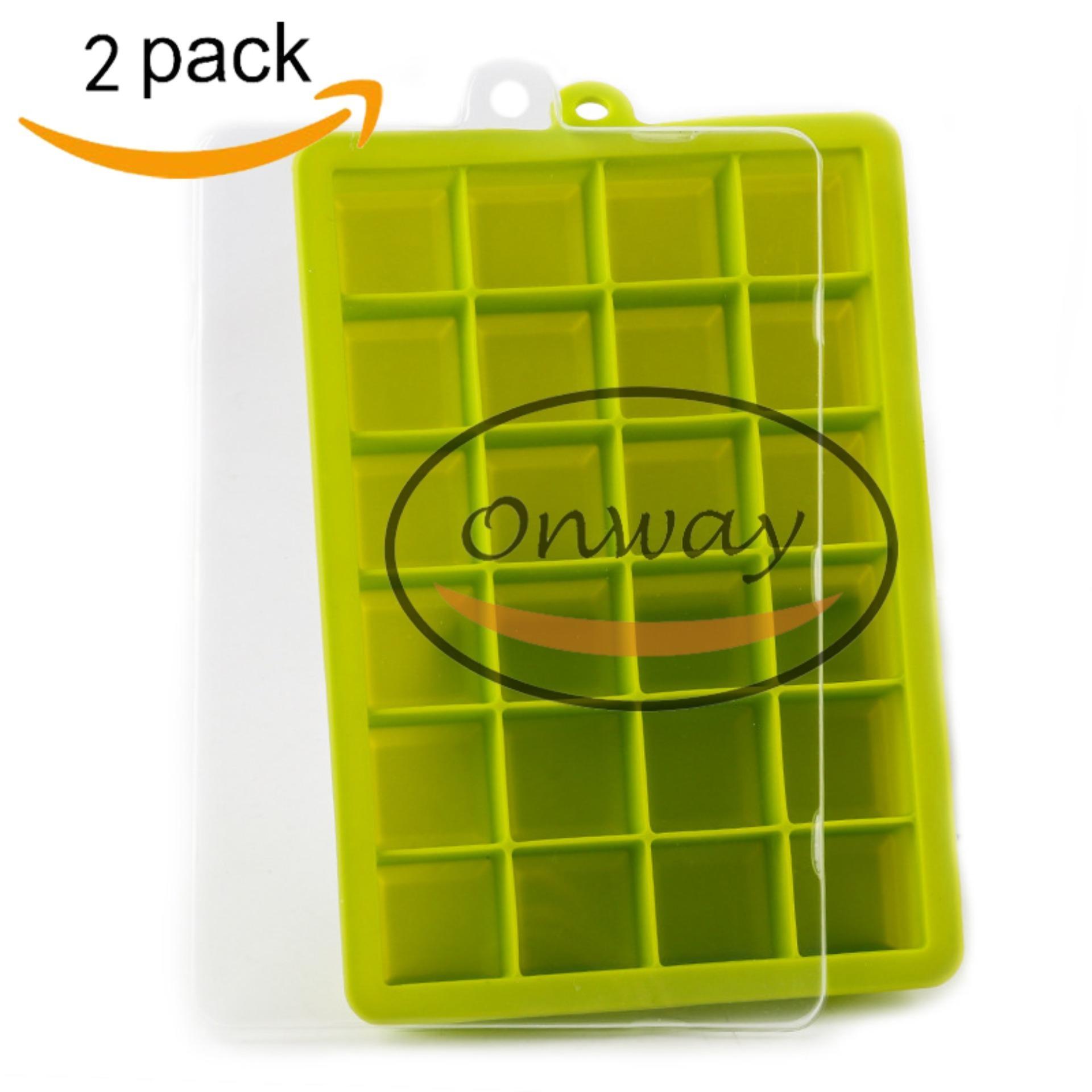 24 Rongga Es Batu Nampan Dengan Tutup, Onway Silikon Es Batu Cetakan Food Grade Baby Food Supplement Box, Cetakan Ice Tray Untuk Ice Jelly Puding Pembuat Cetakan (2 Pack) By Onway.