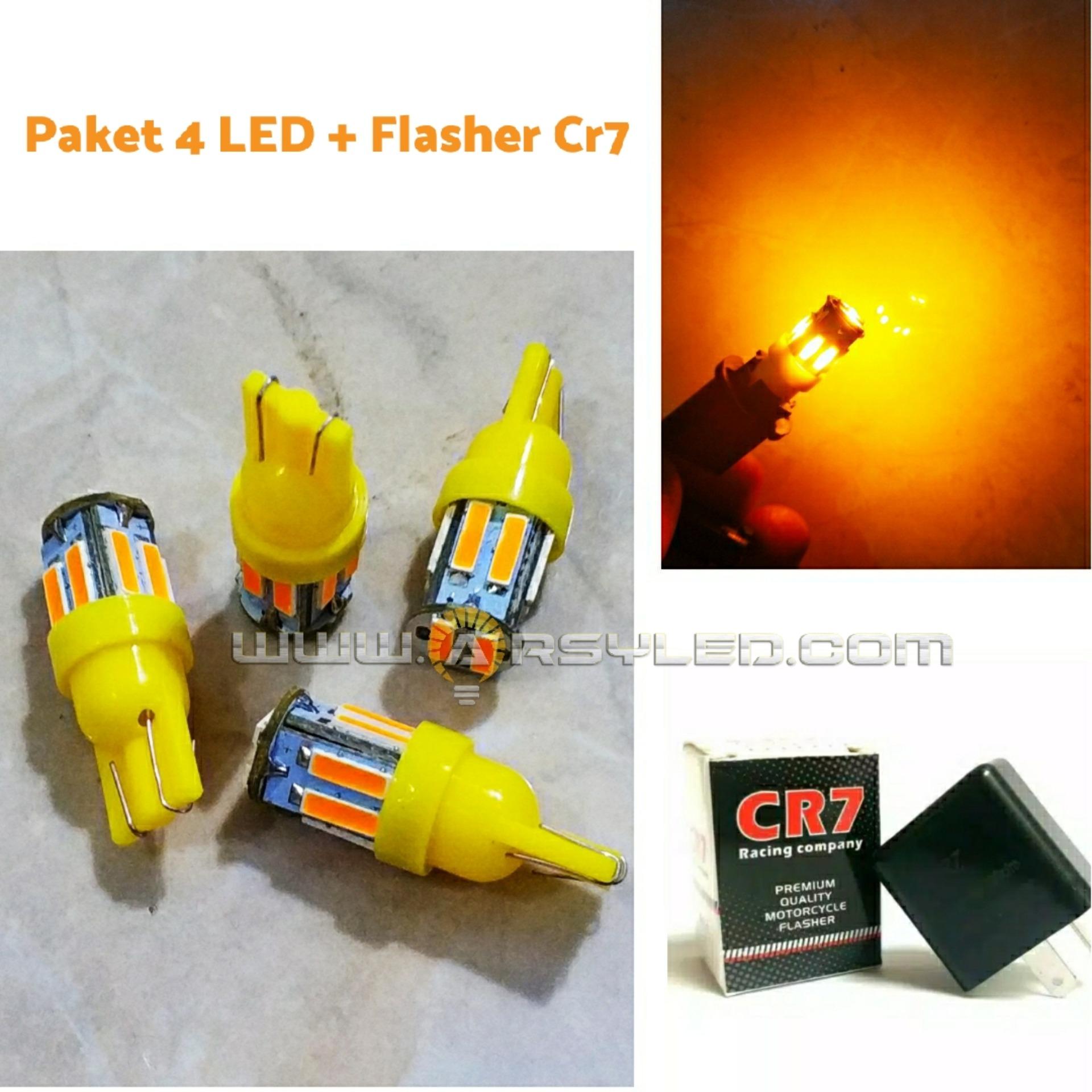 PAKET 4 Biji lampu sein led motor + Flasher CR7 LED 7014 10 titik Premium Grade A Super Bright Motor ARSYSTORE - KUNING