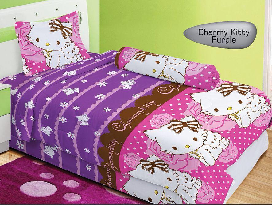 Sprei Lady Rose Motif CHARMY KITTY Single Size 120 x 200 cm purple ungu pink