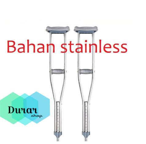 Tongkat ketiak/tongkat bantu jalan bahan stainlis tongkat kruk (HANYA SATU) Ada Ukuran S,M,L