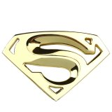 Harga Hemat 3D 3M Chrome Emblem Auto Logo Superman Badge Metal Motorcycle Accessories Car Styling Funny Car Stickers Gold Intl