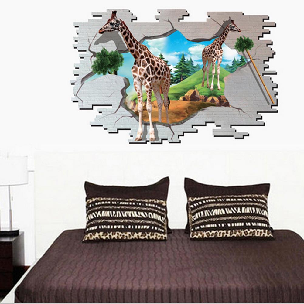 3D Jerapah Wall Decal Home Sticker PVC Mural Vinyl Paper House Decoration Wallpaper Ruang Tamu Kamar Tidur Dapur Gambar Seni DIY untuk Anak Remaja Remaja Dewasa Anak-Intl