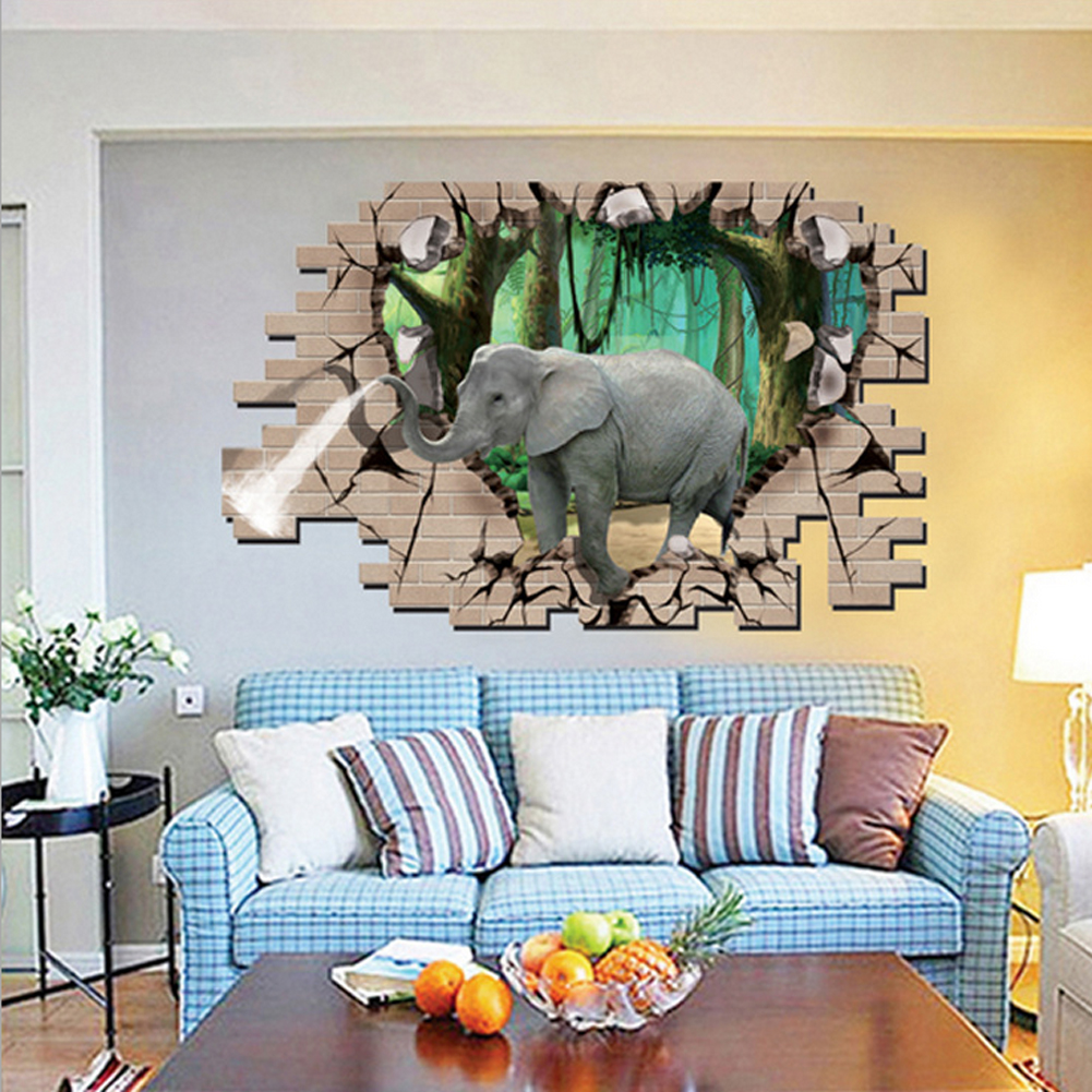 3D Style Broken Wall Elephant Wall Decal Home Sticker PVC Mural Vinyl Kertas Rumah Dekorasi Wallpaper Ruang Tamu Kamar Tidur Dapur Gambar Seni DIY untuk Anak Remaja Remaja Dewasa Pembibitan Bayi-Intl