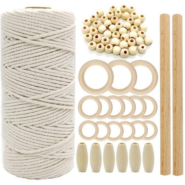 Macrame Cord Natural Cotton Rope 3mm with Wood Ring Wood Stick for DIY Teether Macrame Kit Wall Hanging Plant Hanger