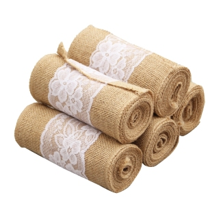 5Pcs Burlap Lace Chair Sashes Hessian Jute Chair Cover Bows for Wedding Decoration,Party,Birthday,Engagement,Home Decor thumbnail