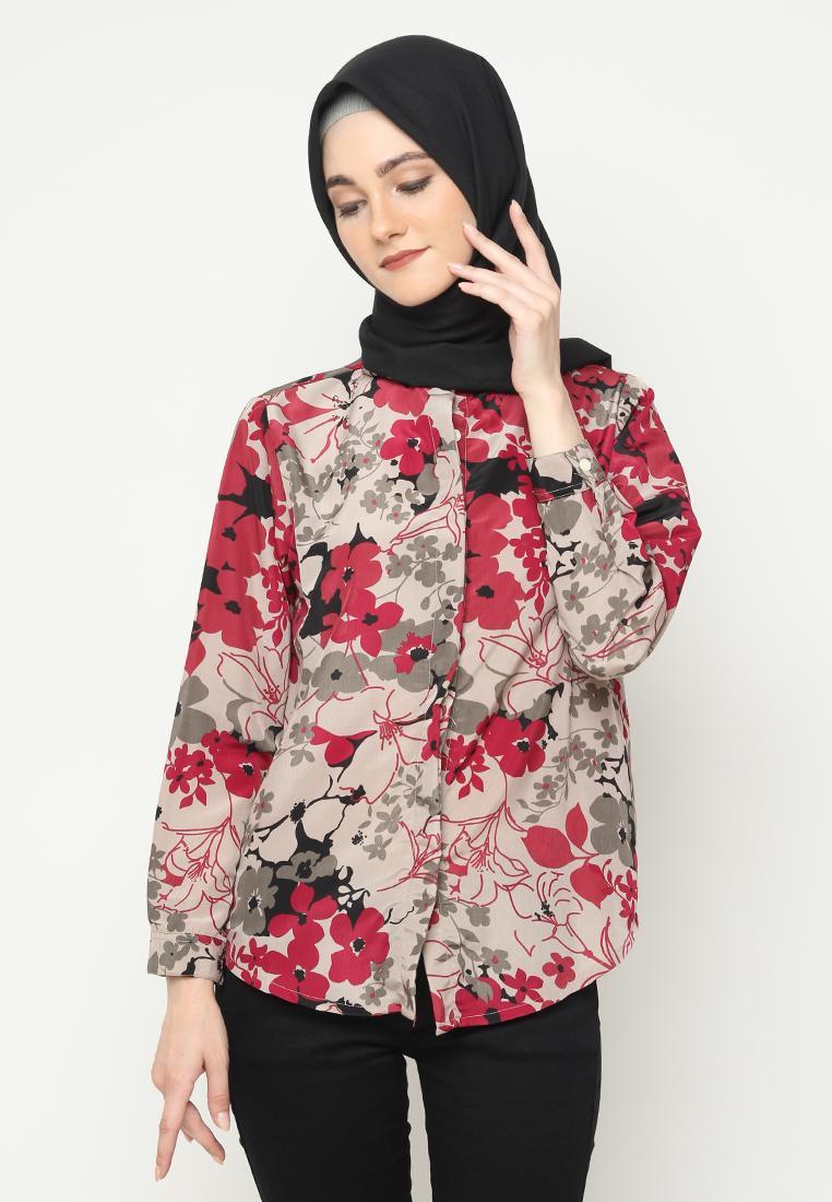 Kemeja Basic Motif Blouse Fashion Wanita Hijab