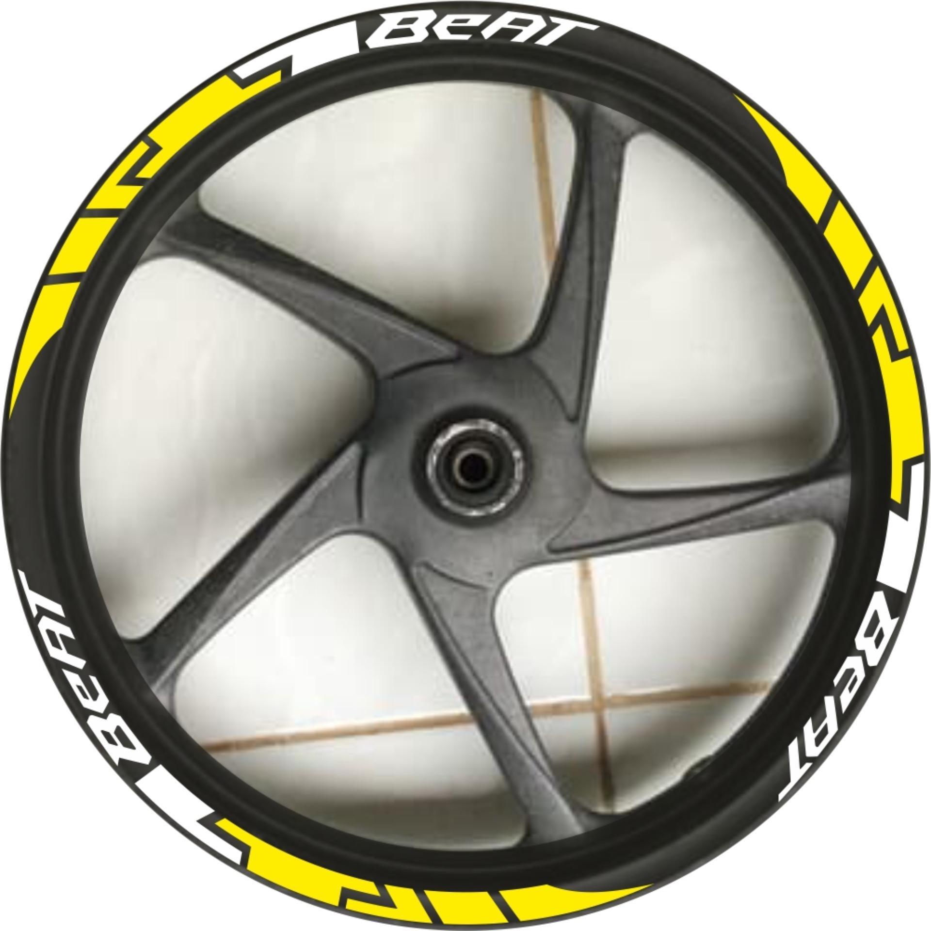 Ngemall - Baru Stiker Velg Sticker Velg 5 Honda Beat - Kuning  Putih - Ngemall