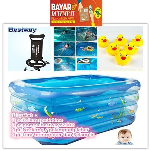 BONUS 6 PCS BEBEK2AN BUNYI, TERMASUK PELAMPUNG,POMPA BEST SELLER PAKET LENGKAP KOLAM SPA BAYI INTIME KOTAK  NECKRING/PELAMPUNG  PLUS POMPA TABUNG BESTWAY MURAH SALE DISKON KOLAM RENANG BAYI MANDI BOLA ANAK Baby Spa Baby Pool
