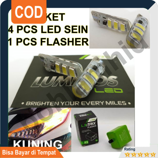 BAYAR DI TEMPAT!!Lampu LED Sein 4pcs + Flasher VARIO 125 eSP FI LUMINOS T10 5730 Sign || Lampu Motor || Bhid3