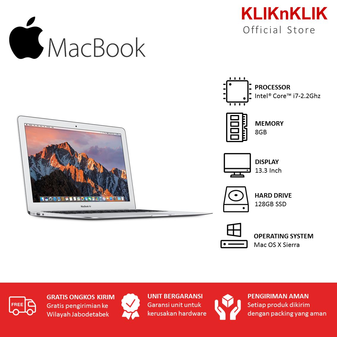 APPLE MacBook Air 13 MQD32 - RAM 8GB - i7-1.6Ghz - 128GB SSD - 13.3 Inch - OS X Sierra - Garansi Internasional -  Laptop Macbook Murah