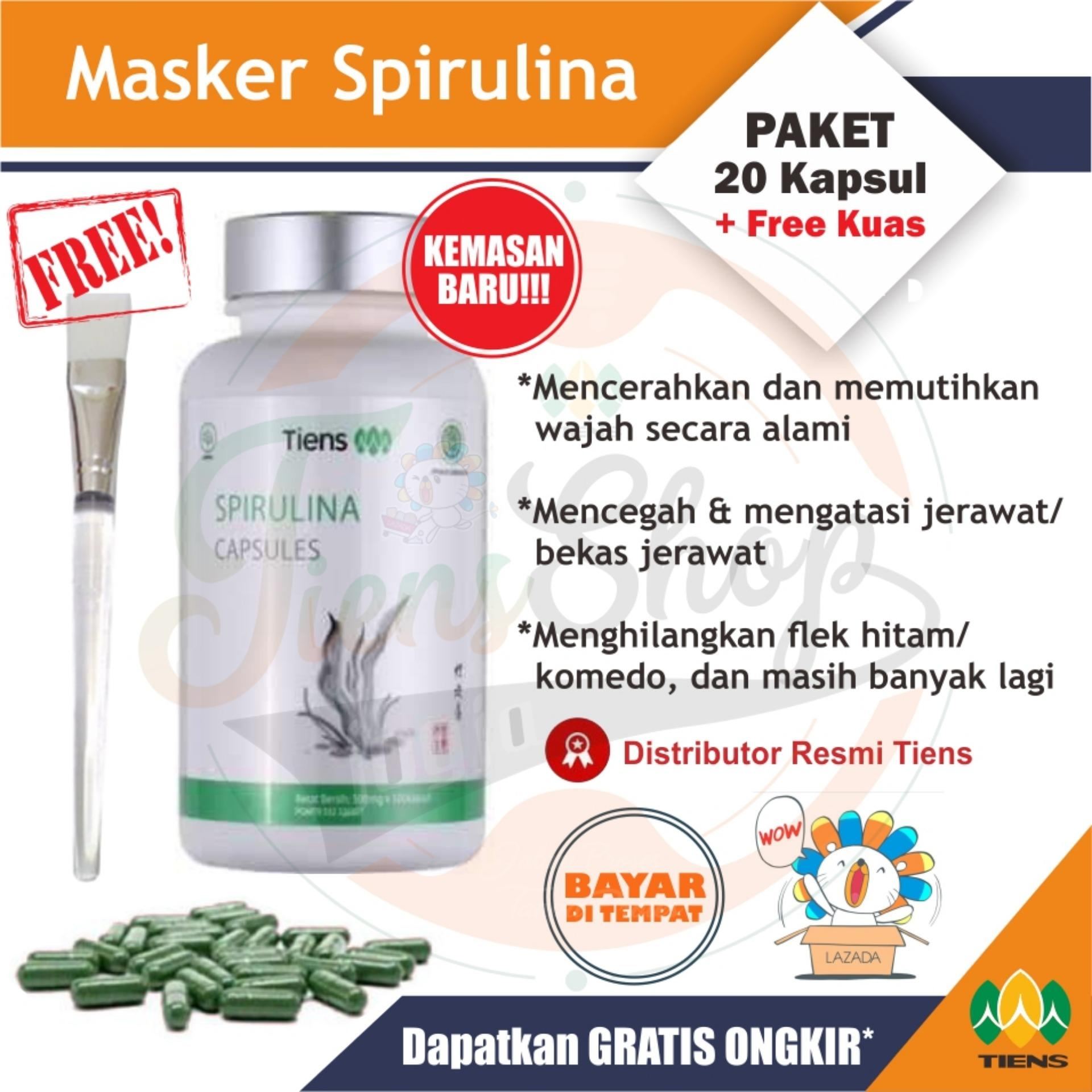 Tiens Masker Spirulina / PAKET 20 Kapsul / Pembersih wajah, Penghilang komedo & Jerawat + GRATIS Kuas Masker Tiens Shop Jogja