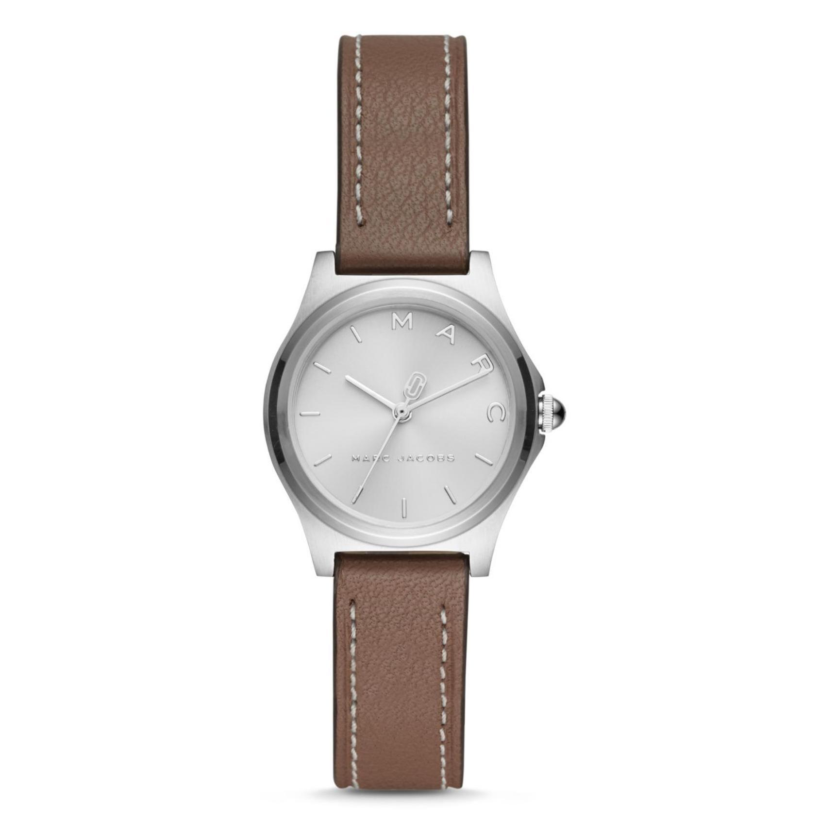 Marc By Marc Jacob Hendry - Silver Dial 28mm - Cement Leather Strap - Jam Tangan Analog Wanita - MJ1643 - Original dan Garansi Watch Care