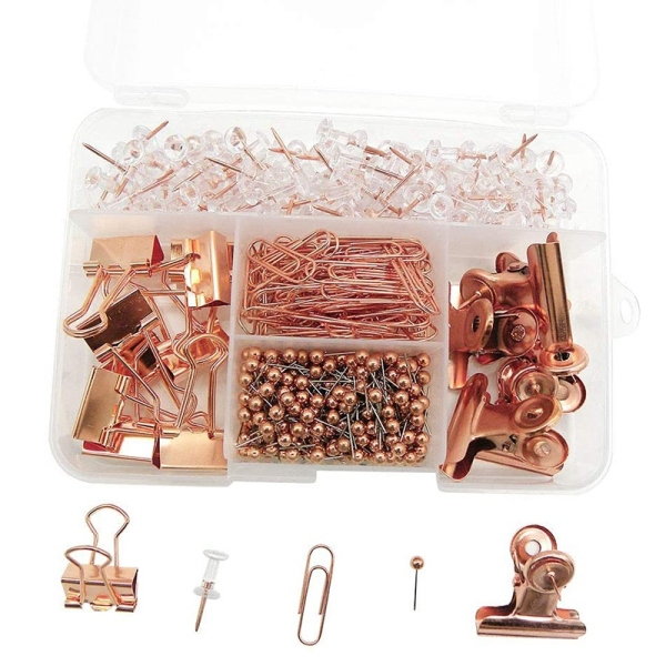 Push Pins Binder Clips Paper Clips Map Tacks Sets, 5 Styles 500 Pcs Rose Gold Pack for Office, School and Home Supplies