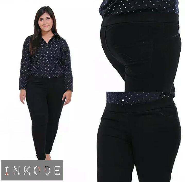 Celana Legging Pinggang Karet Jeans Jumbo Wanita Size 31 - 38 By Inkodewatch.