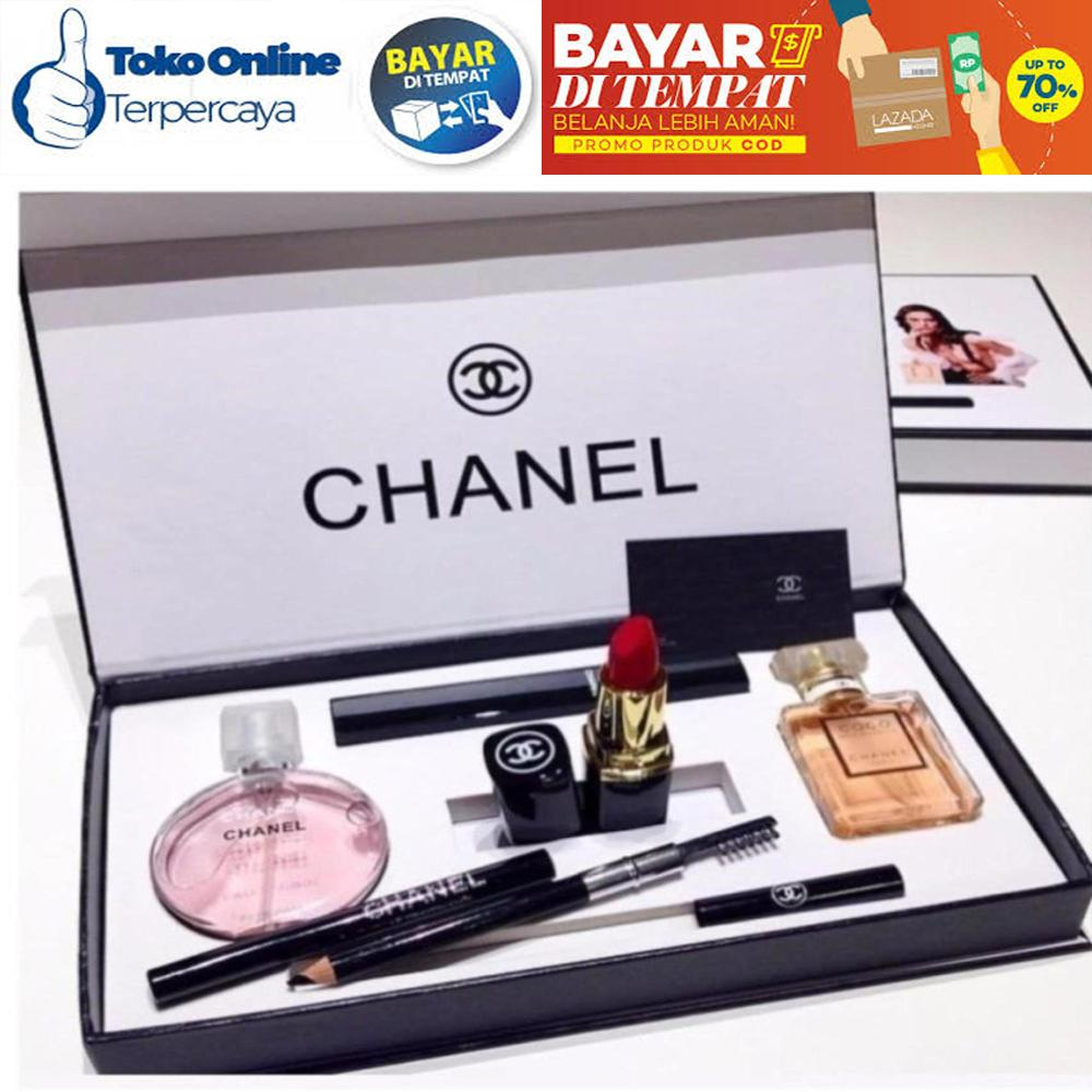 Chanel Exclusive Mini Set Parfum Miniatur Lipstik Maskara Lipstick Set  Paket 5 in 1 Chanel 5in1 a2f24764ee