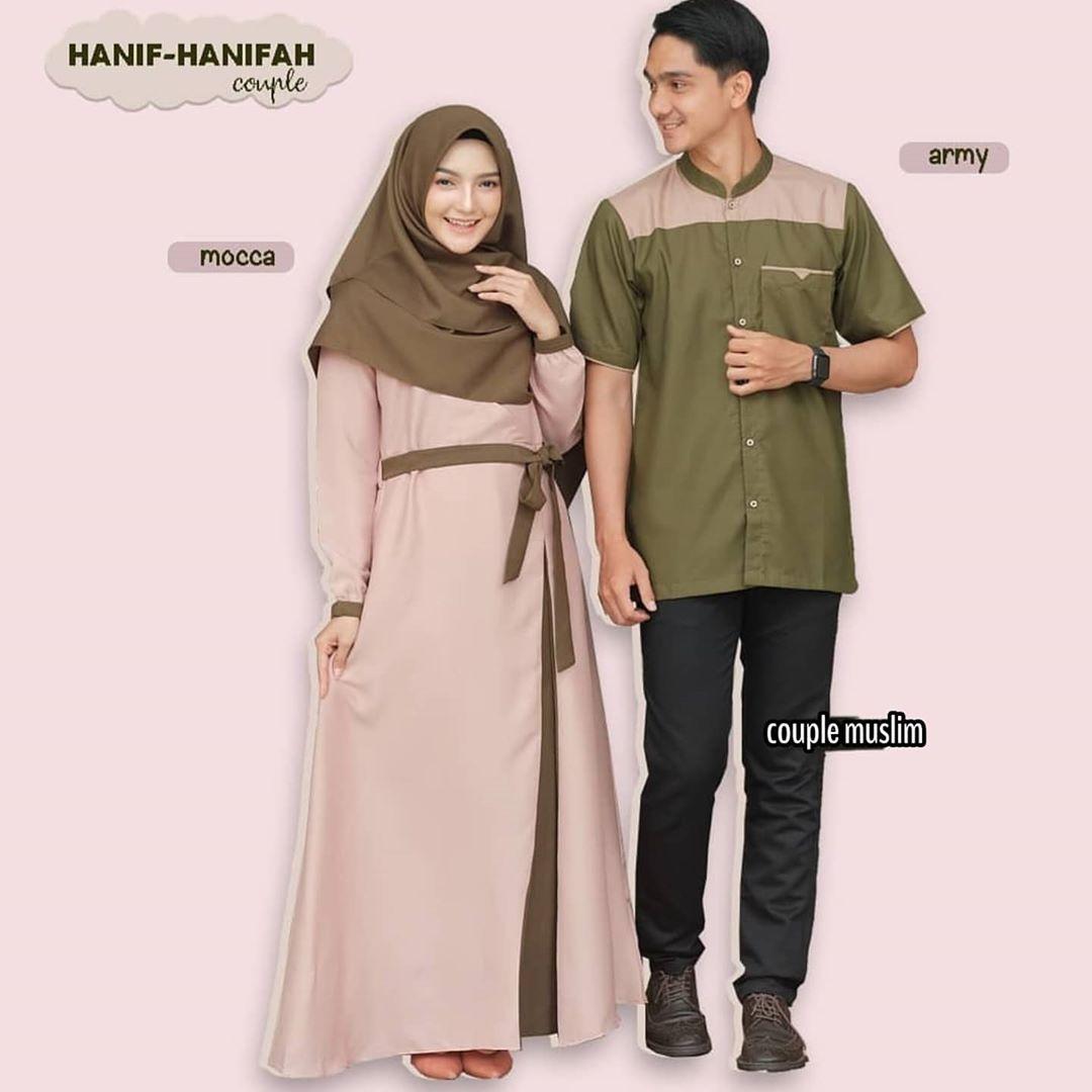 Hanifah Couple / Gamis brukat / Gamis Couple Murah / Baju Wanita / Baju  Pria / Kemeja Couple / Baju Muslim Terbaru / Model Gamis Terbaru / Baju  Couple