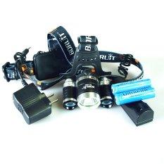 3T6TD LED Headlight Headlamp 5000 Lumens 3 X Cree XM-L T6 4 Mode Tahan