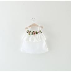 4 Tahun Anak Anak Bayi Balita Gaya Korea Cute Flower Fairy Perban Putri Appliques Gaun Jumper Pleated Rok Peplum Gaun Intl Tiongkok Diskon