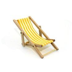 1:12 Mini garis lipat kayu kursi pantai rumah boneka miniatur aksesoris mainan kuning