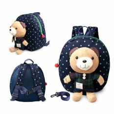 1-3 Tahun Bayi Keeper Balita Berjalan Keselamatan Memanfaatkan Bear Backpack Strap Bag (Biru)