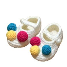 1 pasang sepatu bayi rajutan wol buatan tangan bayi sepatu bayi untuk yang baru lahir 0-12 bulan bayi putih 10.97 m